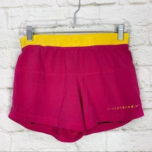 Nike Livestrong Cycling Neon Athletic Lined Shorts